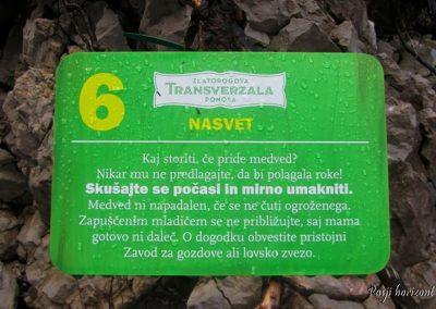 Zelenica, opozorilna tabla za medvede
