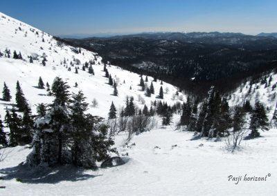 Prečenje, Veliki Snežnik, razgled ob poti