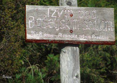 Izvir pod Bašeljskim sedlom, tabla